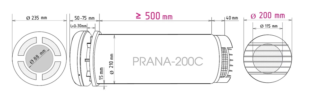 Ventilatsiooniseade-Prana-200C-suurus-3
